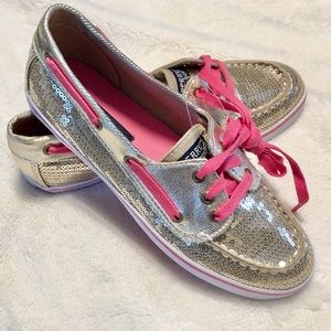 🆕Girl's Sperry Gold Top Sider Boat Shoes Size 4